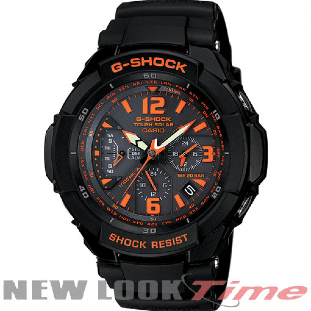 Relógio CASIO G-Shock G-1200B-1AD *Gravity Defier Aviator*Tough Solar