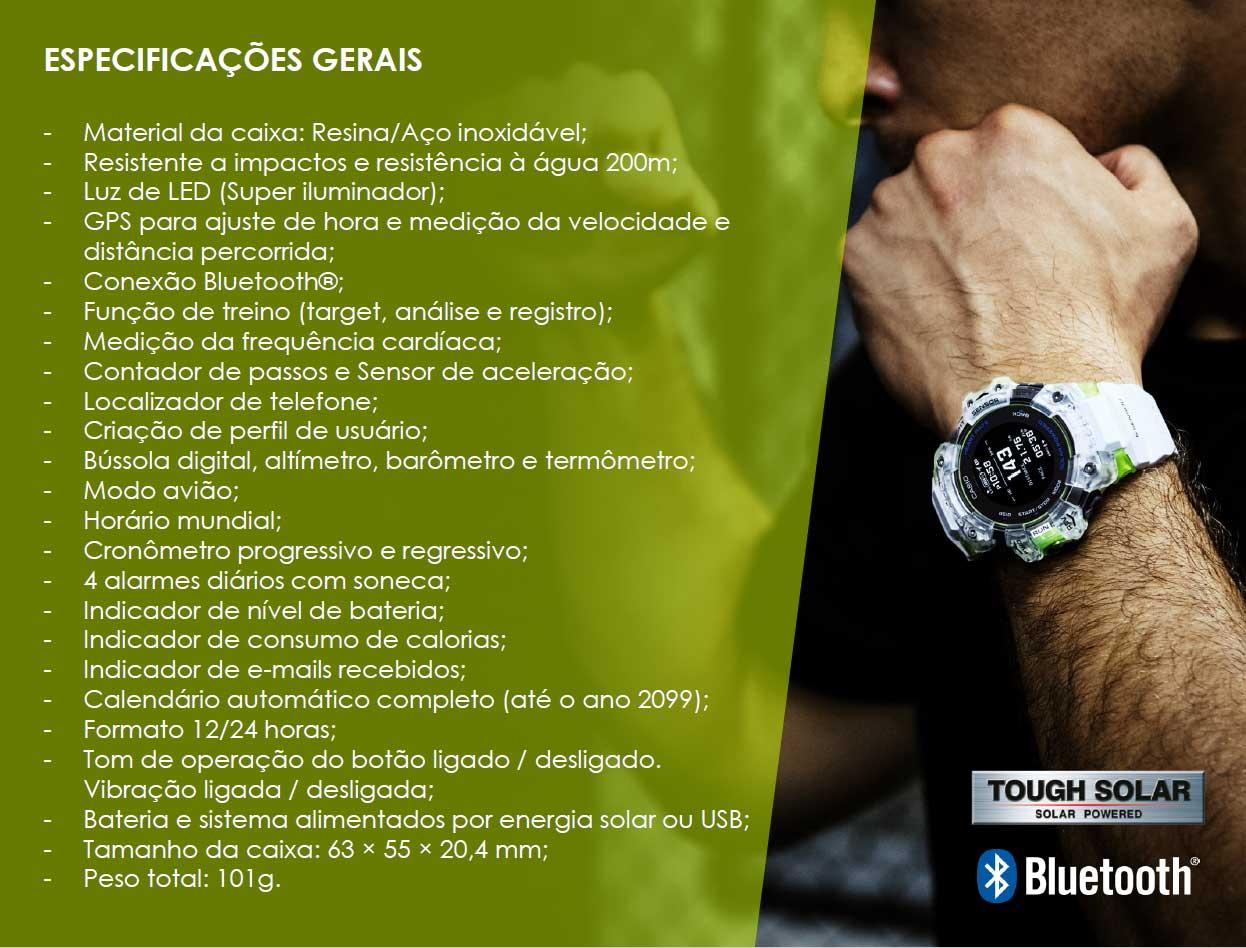 Especificações Gerais do G-Shock G-Squad